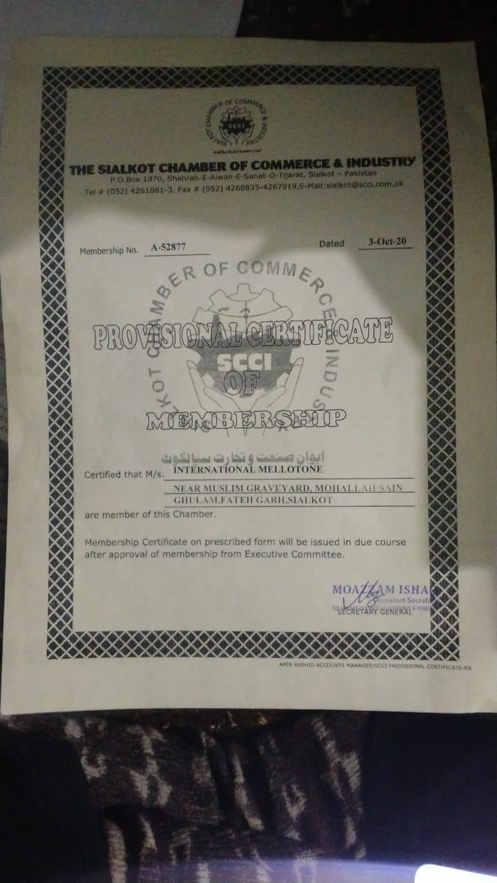 Provisional certificate of membership