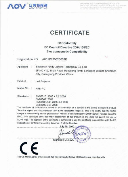 Led projector certification
