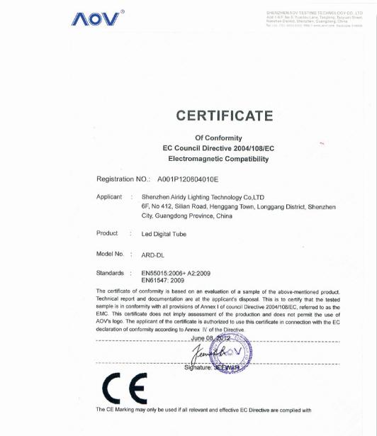 Led digital tube certification