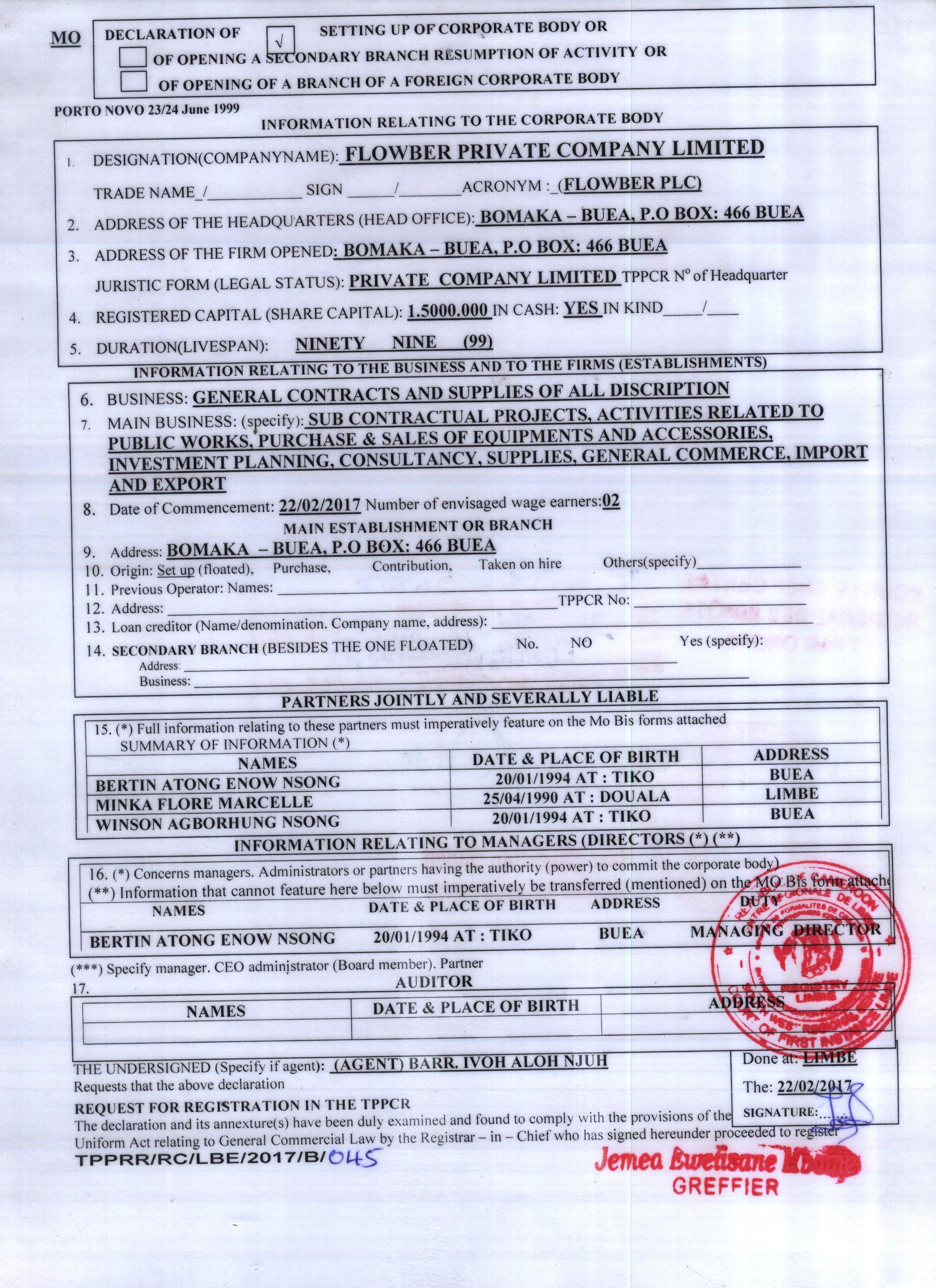 Registration into the Trade Registry (TPPCR)
