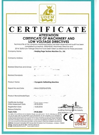 CE Certificate issued by EU authorized orgnization UEDM