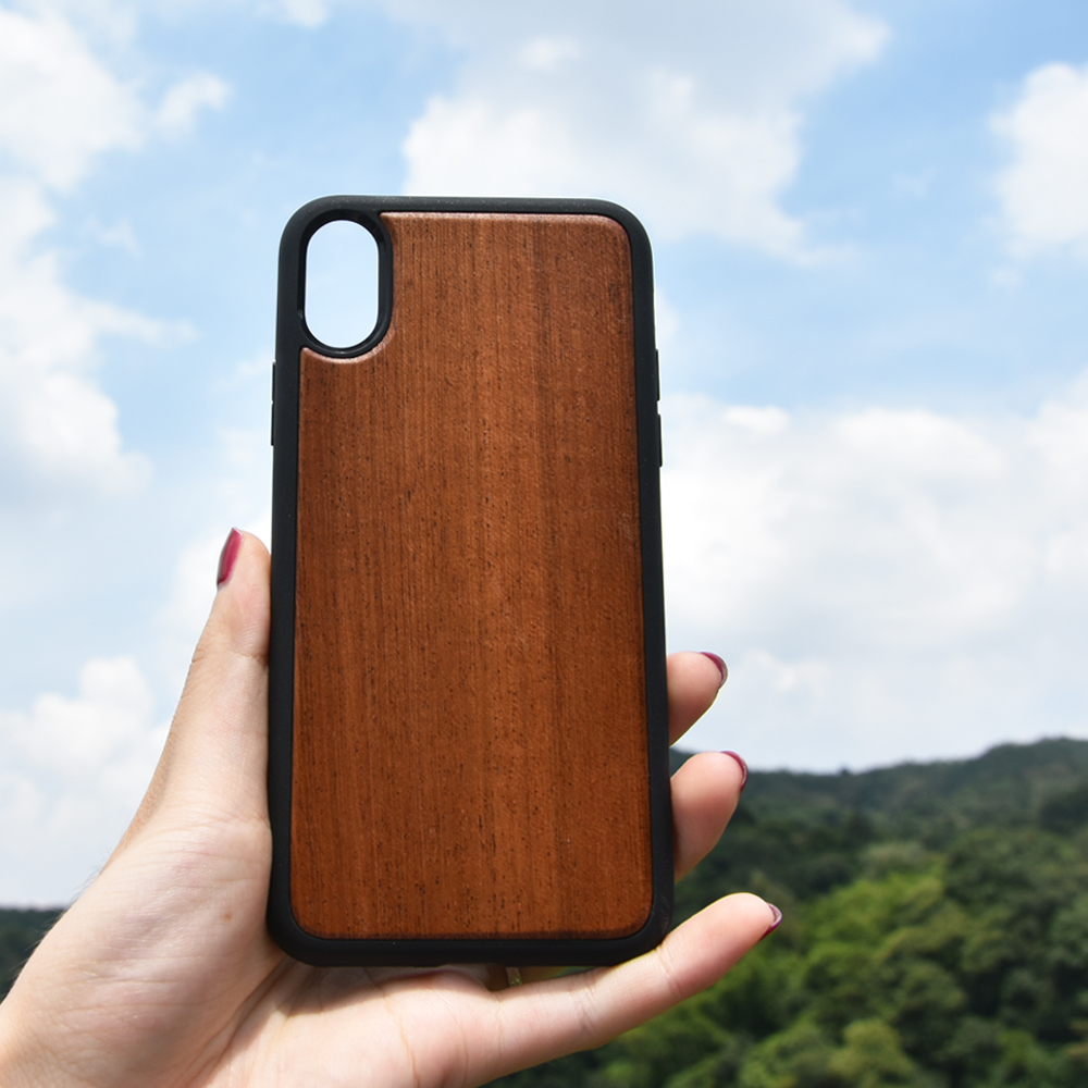 Wood Back Real Wood Matt Black Case for iPhone