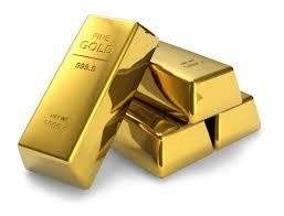 Gold bars and gold dust
