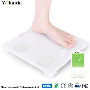 钢化玻璃多功能脂肪秤电子重量秤测量体重、脂肪、热量