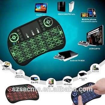 背光的2.4G遥控迷你无线空中鼠标键盘kerbord i8的Android电视盒和笔记本电脑