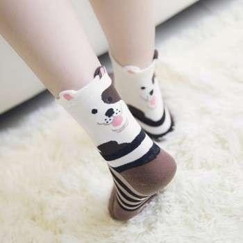 女性卡通狗图案脚踝袜纯棉裤袜休闲女士们可爱柔软温暖情人袜
