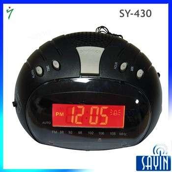 sy-430 FM家闹钟收音机与低迷的内置扬声器