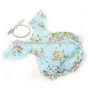 花卉印花连身衣振袖婴儿爬衣婴儿幼儿服装