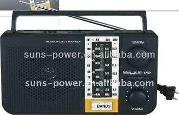 便携式12V 12V太阳能射频/直流收音机