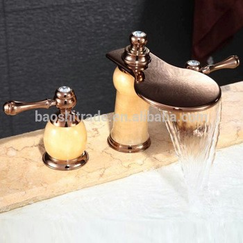 3孔瀑金铜与玉石石头浴室盆混合器水龙头
