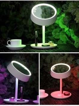 2017多功能新型多功能可充电7色led化妆灯反光镜