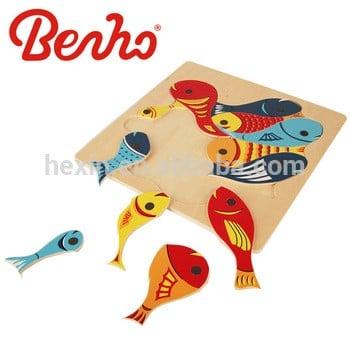 木板磁装钓鱼游戏木制益智玩具