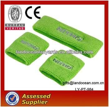 绿色棉汗腕带和头带