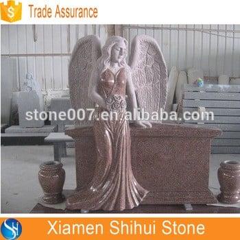 印度红花岗岩天然石站立天使墓碑