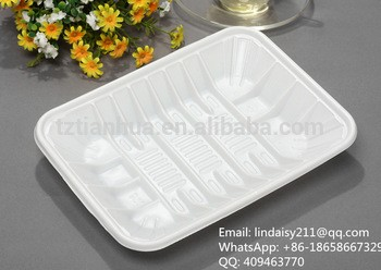 White rectangle disposable plastic food/fruit frozen packing tray
