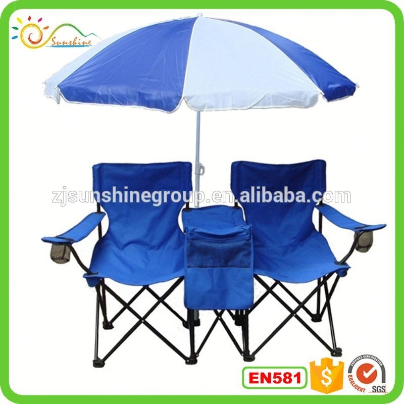 Remarkable Double Folding Chair W Umbrella Table Cooler Foldable Beach Gmtry Best Dining Table And Chair Ideas Images Gmtryco