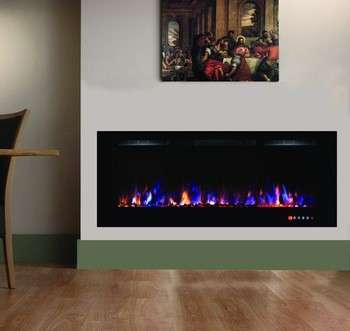 55 Lvd Touch Panel Recessed And Wall Mounted Electric Fireplace