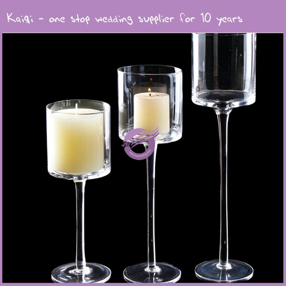 K5928 Hand Blown Tall Clear Glass Tealight Wholesale Clear ...