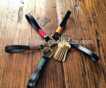 手工带热销售新的真皮10mm钥匙圈钥匙链,钥匙链