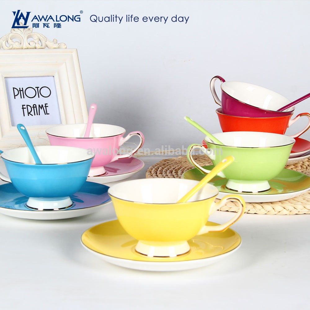 Wholesale Tea Sets Of Colorful Porcelain Tea Cup Saucer With Custom ...