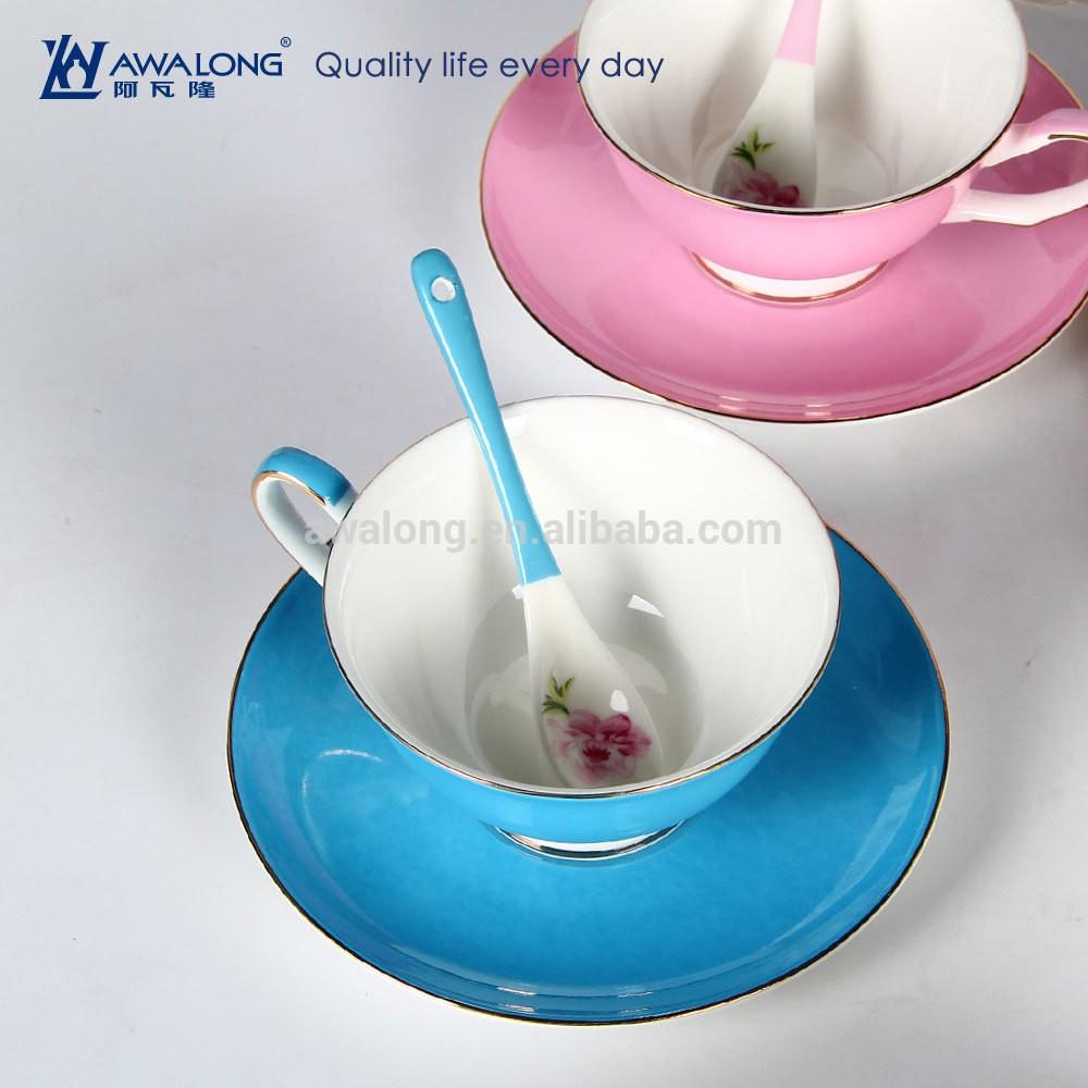 Wholesale Tea Sets Of Colorful Porcelain Tea Cup Saucer With Custom ...