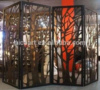 现代金属隔断屏风夹金属树枝空室分隔器