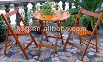 3pcs花园折叠的木制桌子和椅子