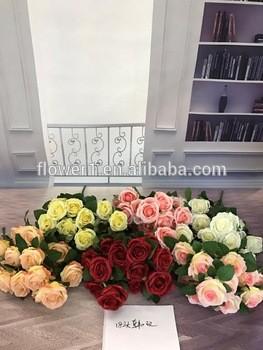 人造花卉的高质量人工玫瑰,18heads织物仿真花