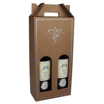 批发定制棕色牛皮纸瓦楞纸板葡萄酒运输箱