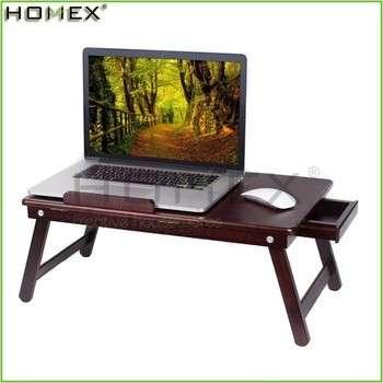 竹笔记本电脑桌在胡桃木色/床上笔记本桌盘/ homex_fsc / BSCI验厂