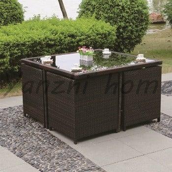 2017新设计的藤沙发5pc白柳条户外花园庭院阳台家具