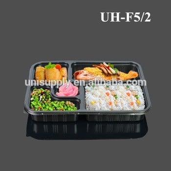 PP塑料一次性5室微波安全外卖食品容器午餐托盘