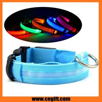 夜间安全警告LED狗项圈,电池或USB充电尼龙高质量LED宠物项圈