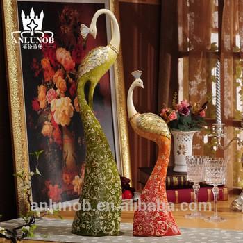 手工树脂动物彩色孔雀雕像艺术工艺家居装饰