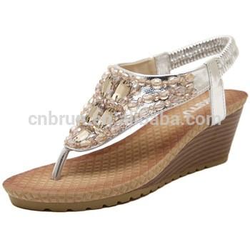 新的2016夏季串珠水钻楔形凉鞋高跟鞋的女性平台的夏天
