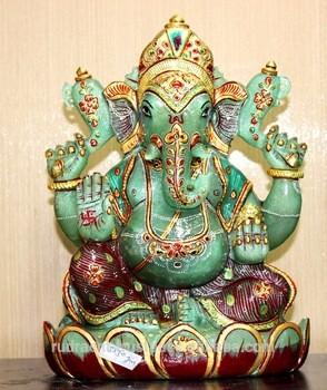 手工制作的仿古玉主甘尼萨的雕像,印度宝石雕像,印度教的精神雕像