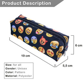 FactorytoShop (UK) Print Pencil Case - Emoji Black