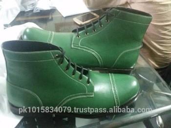 橄榄绿真皮high-cut脚踝女鞋,新来的手工制作的人穿的鞋