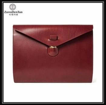 油蜡皮革酒红色商务公文包带锁