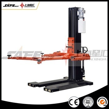 Movable hydraulic single post mobile car lift