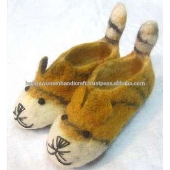 觉得老虎尾鞋毡拖鞋,手工制作的尼泊尔