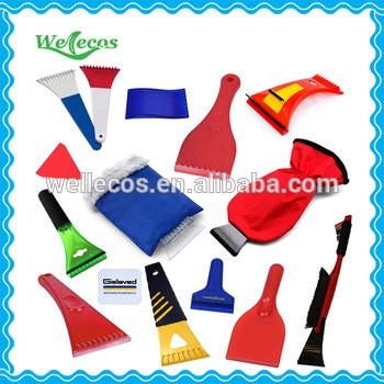 Cheap custom logo printed promotional ice scraper glove, ice scraper with glove