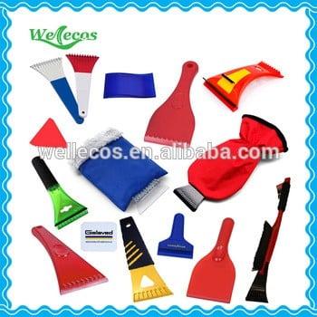 Cheap custom logo printed promotional ice scraper glove, ice scraper with glove