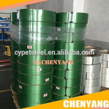 阿里巴巴中国工厂绿色PET打包带压花聚酯捆扎带
