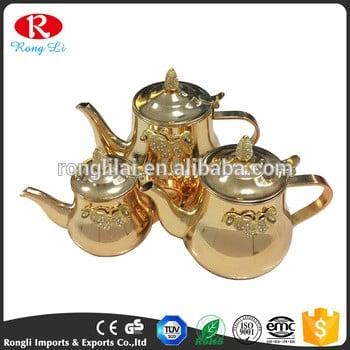 3pcs金色不锈钢水壶和茶库珀套锅