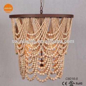 制作温暖的乡村色彩的木制珠吊灯与铁吊灯与UL / CE