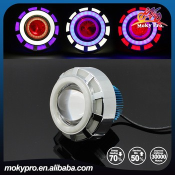 Colorful headlight with angel eyes for motorcycle