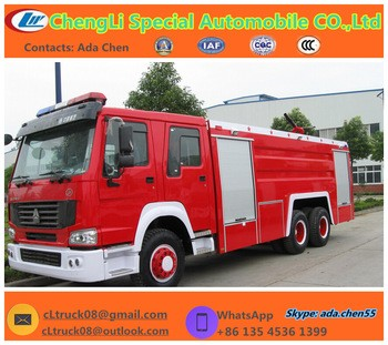 6x4 Howo RHD/LHD Water and foam or dry powder Fire truck, more type fire truck can be choosen.