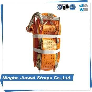 5t优质安全棘轮带捆绑带,100%涤纶织带双J钩