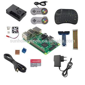 Raspberry Pi的3 +电源适配器+ 16G SD卡+ keybaord +游戏控制器+案例+散热器+有线+有线+ GPIO GPIO显示以+风扇